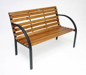 parkbank 39 39 modern 39 39 123 cm holz metall. Black Bedroom Furniture Sets. Home Design Ideas